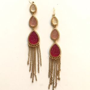 Boutique Pink Gold Sparkle Fringe Fashion Earrings